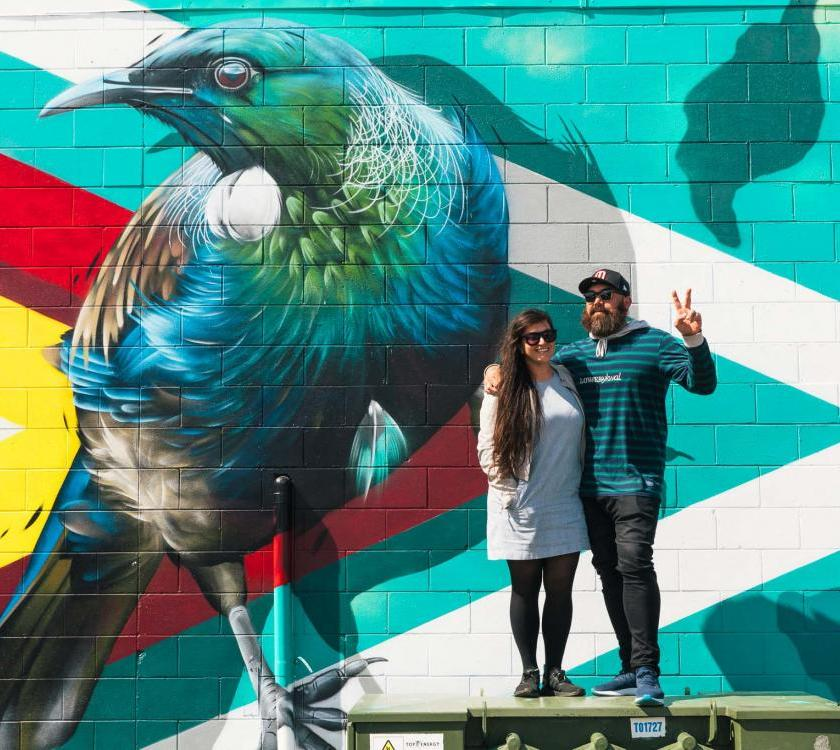06 Tuia 250 Street Art Fest Artists Charles and Janine Williams with their Kaikohe Mural project October 2018